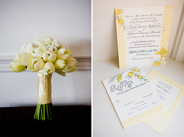 bride's bouquet and wedding paper products