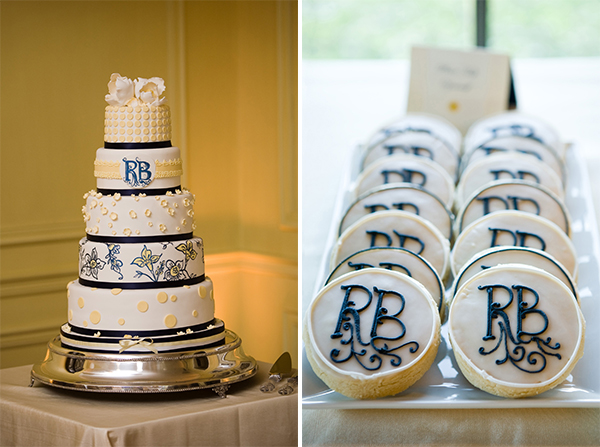wedding cake & cookies with monogram