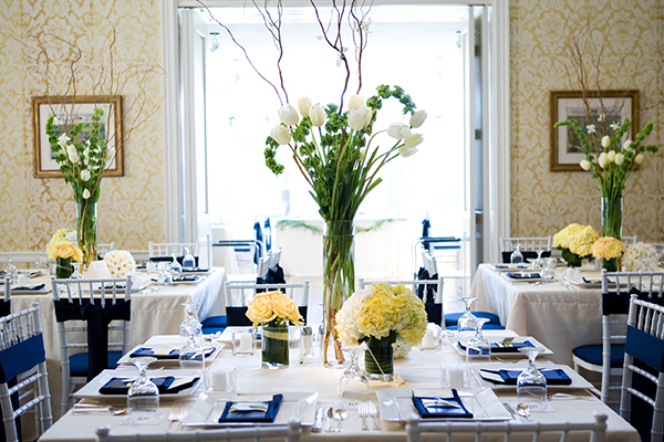 yellow wedding reception centerpieces