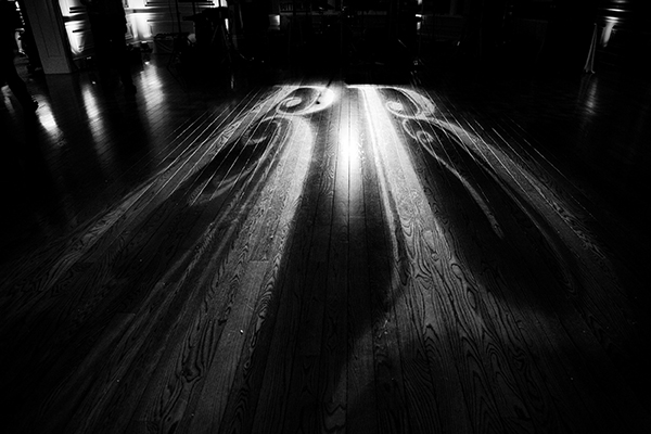 monogram lights on dancefloor