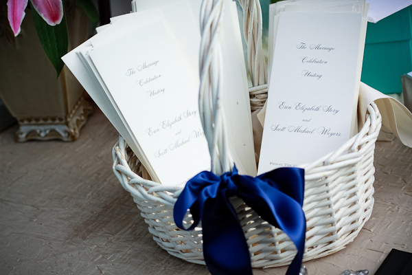 wedding ceremony programs in navy