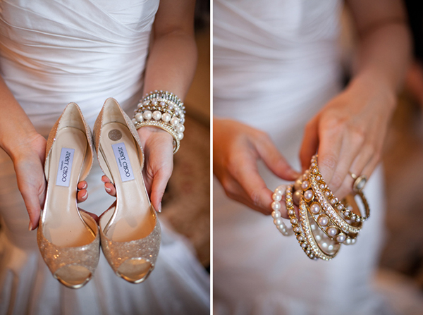 bride's shoes and jewelry