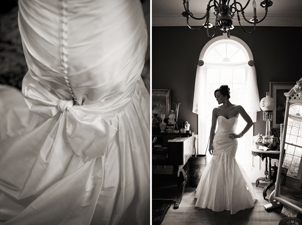 back of bride's dress and silouette