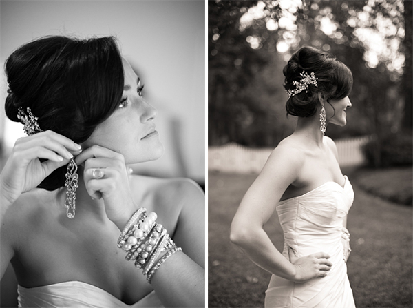 detail shots of brides jewelry & hair pin