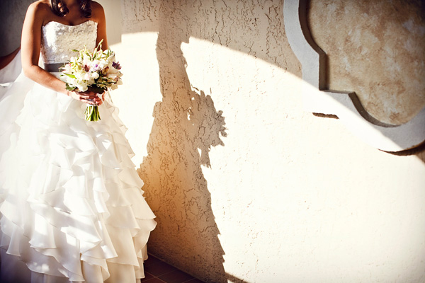 bride's dress & bouquet