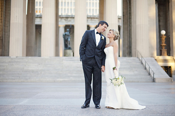 bride and groom portraits in front of war memorial auditorium